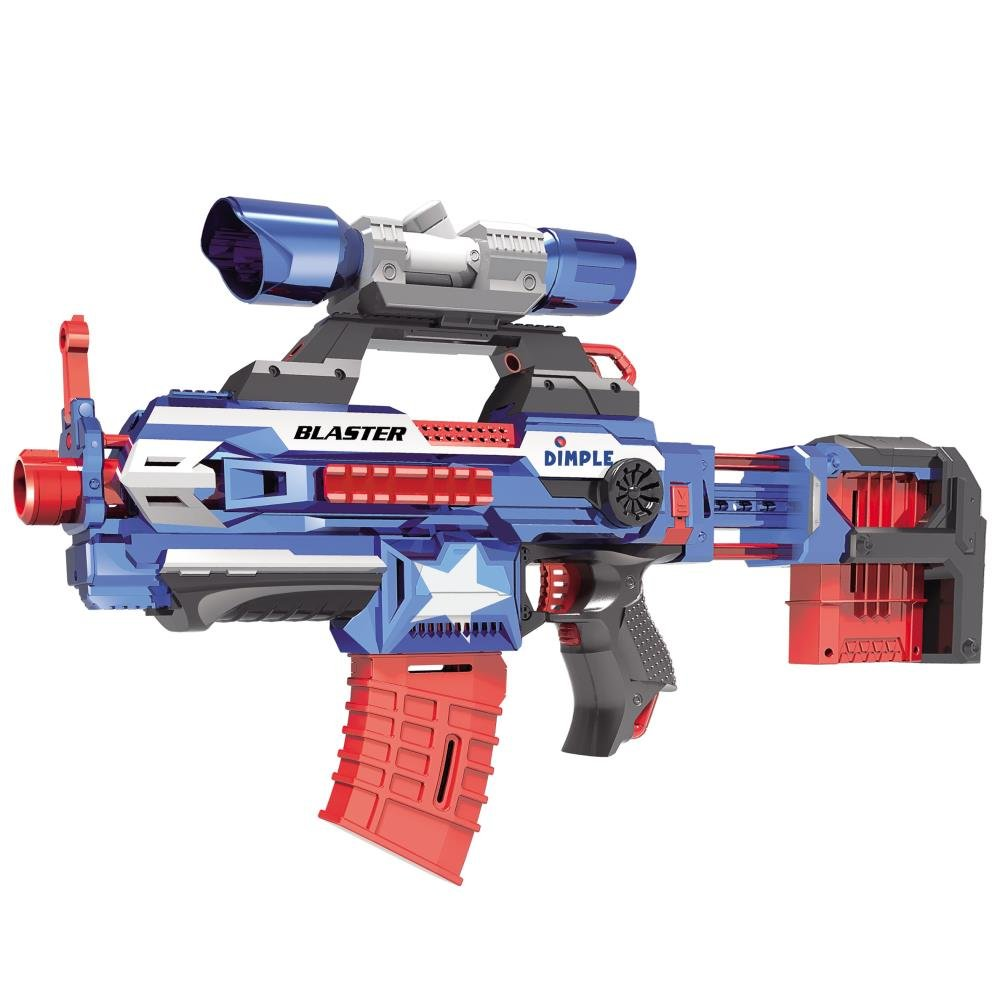 Foam Dart ''Attack Blaster'' with Rapid Refill Cartridges by Dimple, Includes 40 Aerodynamic Soft Foam Darts, 2 Magazine Clips, Clip-on Scope & Extendable Body (Blue)