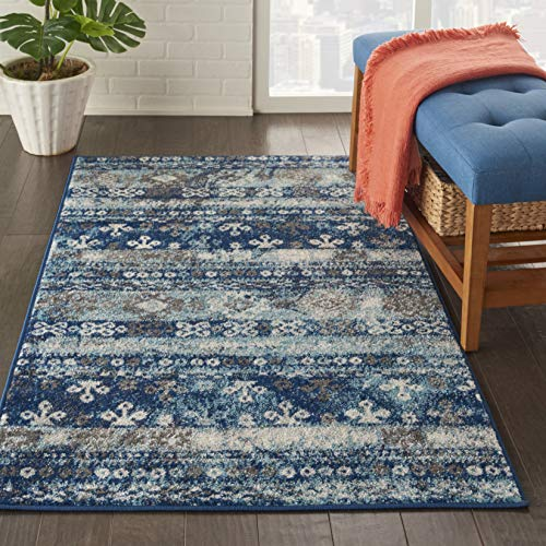 Nourison Persian Vintage 3 x 5 Bohemian Style Area Rug, Ivory Blue 3 3 X5 3