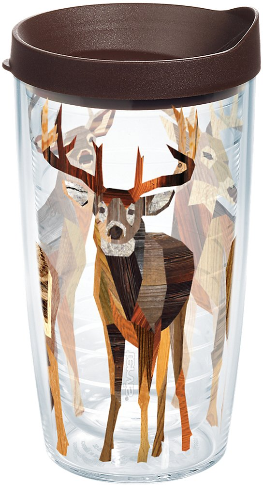 Tervis 1177969 Woodgrain Deer Tumbler with Wrap and Brown Lid 16oz, Clear