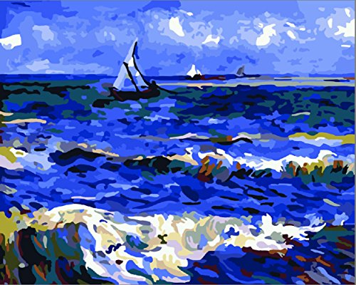 Greek Art Paintworks Paint Color By Number Kits,Seascape Near Les Saintes by Vincent Van Gogh,16-Inch by 20-Inch