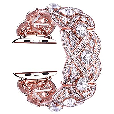 VIQIV Bling Bands for Apple Watch 38mm 42mm Iwatch Series 3, Series 2, Series 1, Diamond Rhinestone Stainless Steel Metal Bracelet Wristband Strap for Women from VIQIV