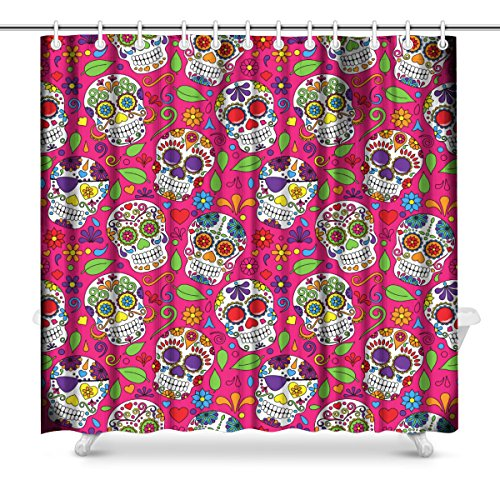 InterestPrint Day Of The Dead Sugar Skull Art Decor Print Bathroom Shower Curtain Decorations Fabric Extra