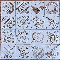 LOCOLO 16 Pcs Christmas Painting Stencils, Plastic Stencils for Bullet Journal, Christmas Stencils for Painting on Wood, DIY Card Making (A B)