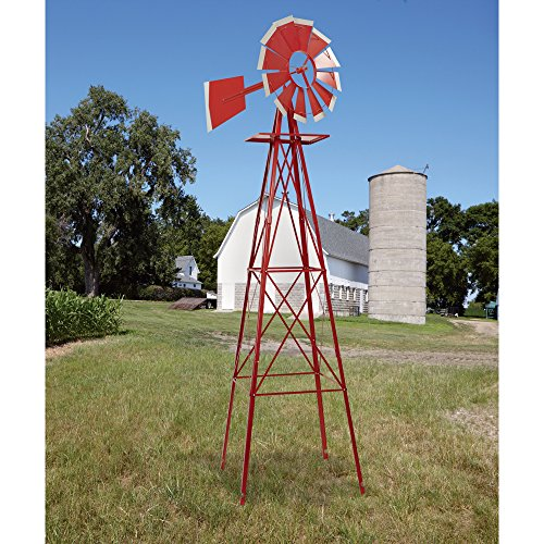 8 ft red and white ornamental windmill know which way the wind blows lawn patio - Decorative Windmills