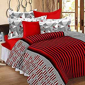 Story at home red black stripe line cotton bed sheet double with 2 pillow covers, red/white,
