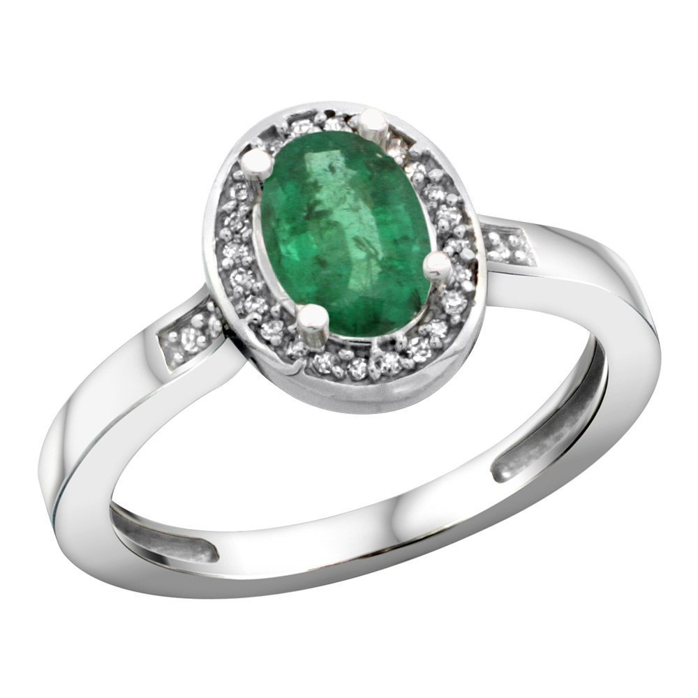 Sterling Silver Diamond Natural Emerald Ring Oval 7x5mm, 1/2 inch wide, size 7.5