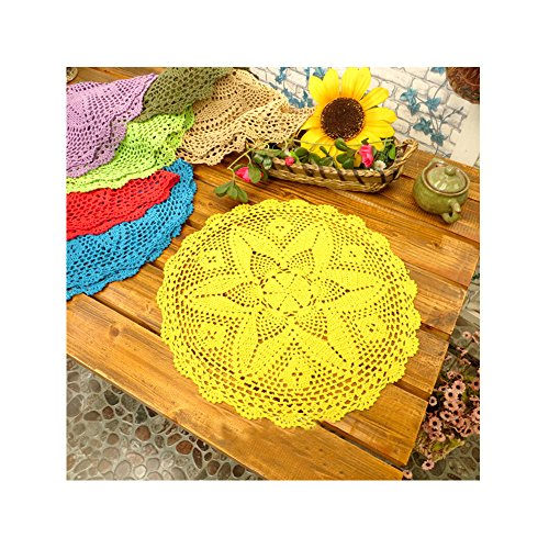 Aspire 18 inches American Rural Countryside Decorative Cotton Cover Towel Lace Table Placemats Doilies - Yellow ()