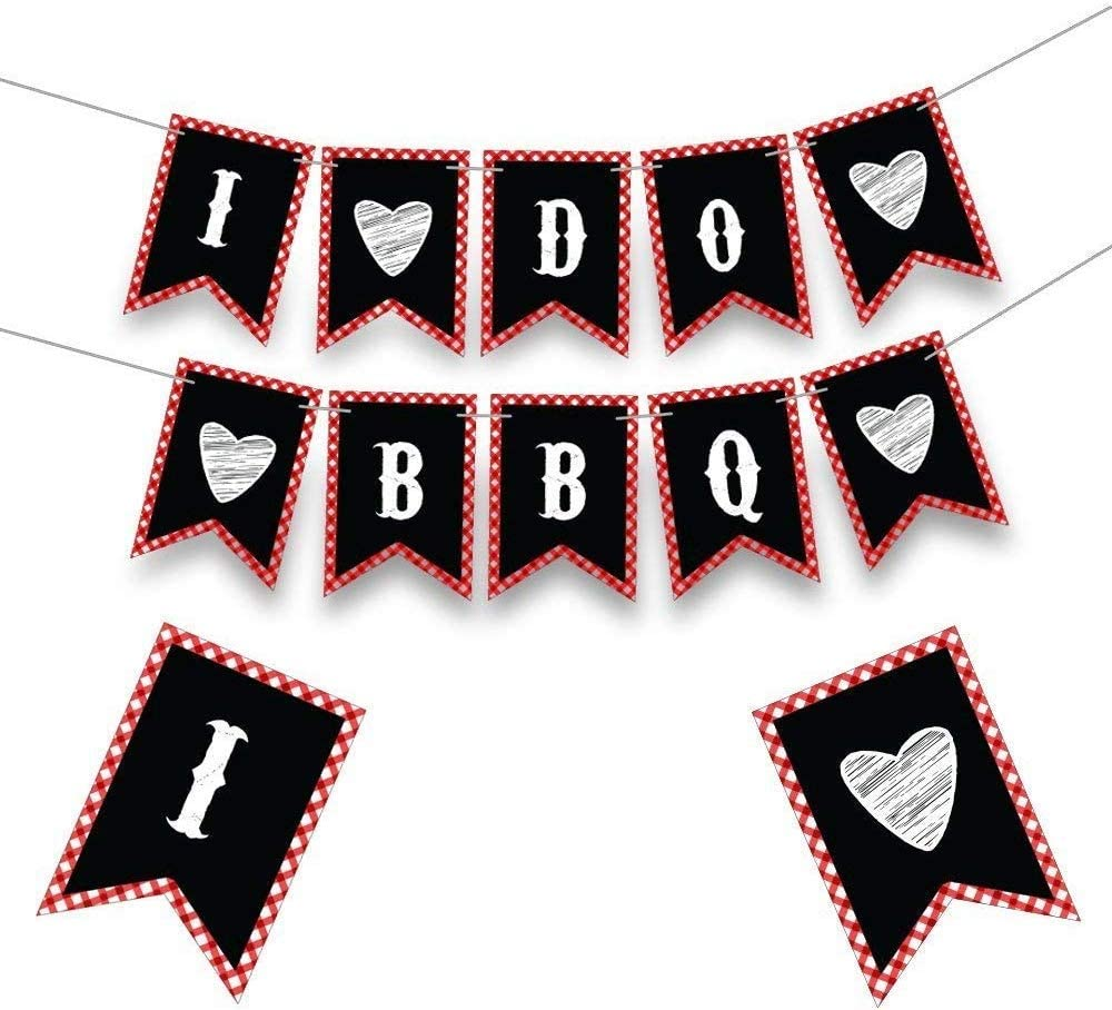 I Do BBQ Banner  Gold Glitter Wedding Bridal Shower Sign  Bachelorette Stagette Engagement Party Hen Do Decor Decoration Barbeque B-B-Q
