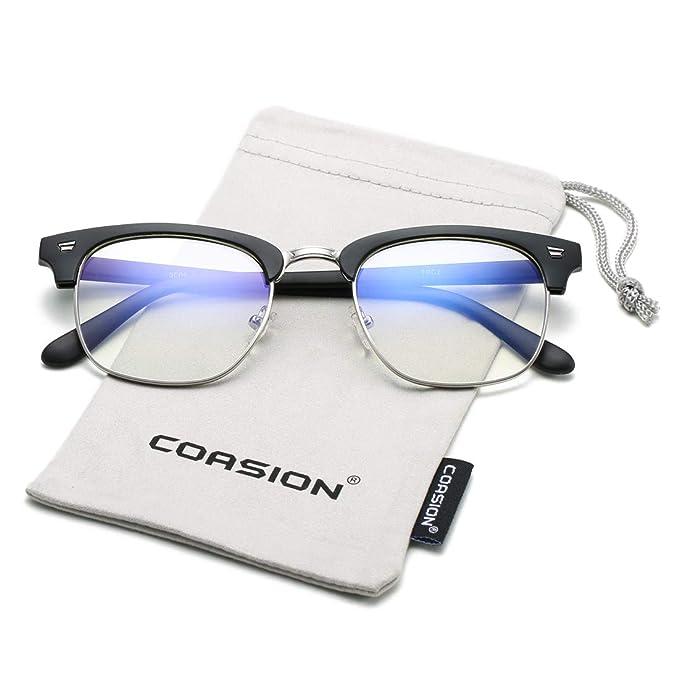 fa36ed9f8b Amazon.com  COASION Vintage Blue Light Blocking Clear Glasses Semi-Rimless  Computer Game Eyeglasses Frame (Matte Black)  Clothing