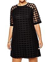 Red Dot Boutique 21815 - Plus Size Mesh Net Babydoll Shift Sheath Cocktail Dress Black
