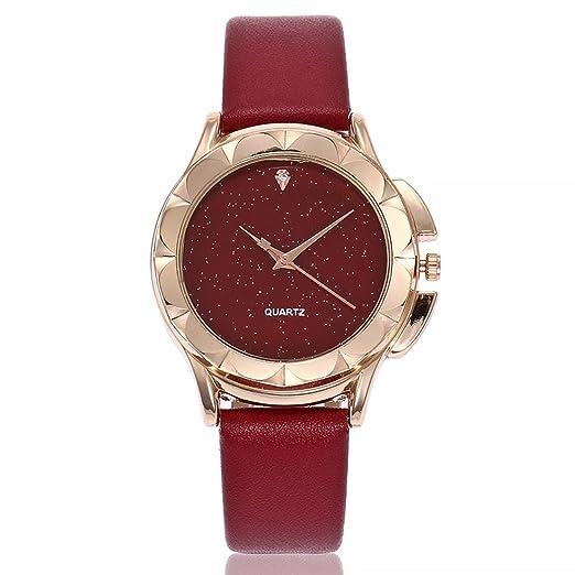Relojes de Mujer Rojo 2018 Correa de Cuero de Cuarzo Casual de Analógico de Pulsera por ESAILQ: Amazon.es: Relojes