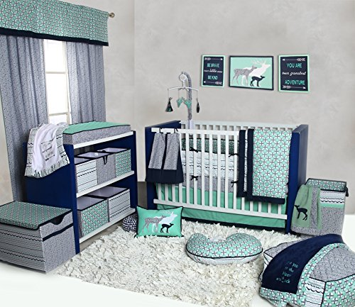 Bacati Noah Tribal 10 Piece Nursery-in-a-Bag Cotton Percale Crib Bedding Set with Bumper Pad, Mint/Navy by Bacati (Image #6)