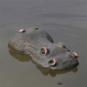 XioBio Creative Resin Floating Crocodile Hippo Scary Statue Outdoor Garden Pond Decoration for Home Garden Halloween Ornament Hippo 2