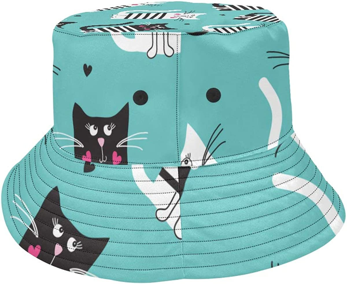 Hat Bucket Summer Spring Bucket Hat Animal Cat Love Heart Packable Fishing Hat Beach Outdoor Picnic Caps for Women Mens