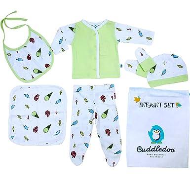 3f690a925 Cuddledoo Newborn Baby Soft Feel Cotton T-Shirt Pyjama with Cap, Bib ...