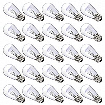 S14 Bulbs by Deneve, 11 Watts, Clear Glass S14 Incandescent Light Bulbs for E26, E27 Sockets, 25 Pack