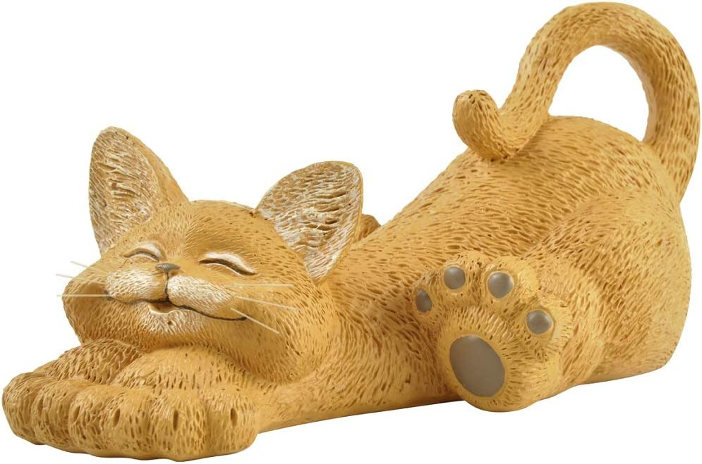 Whimsical Orange Cat Lounging Figurine Cute Collectible - Happy Cat Collection - Cat Lover Gifts for Women, Cat Lover Gifts for Men, Cute Cat Gifts, Cat Office Desk Accessories, Cat Desk Decoration