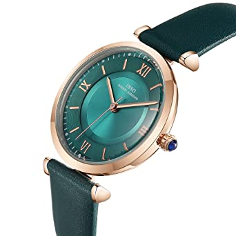 Amazon.com: IBSO Ladies Watches Leather Band Round Case Fashion Women Watches on Sale relojes Mujer (6602-Green): Watches