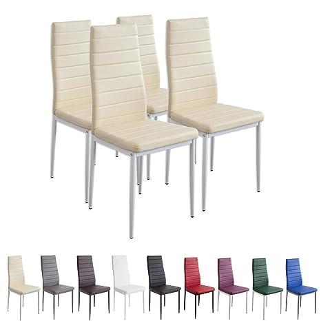 Albatros Milano - Set de 4 sillas de Comedor, Estructura metálica y Piel  sintética, Estilo Italiano, Beige (2702), piél