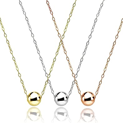 d7b6e58a9c16eb Amazon.com: Set of 3 Sterling Silver, Yellow & Rose Gold Flashed High  Polished 7mm Ball Bead Slide Necklace: Jewelry