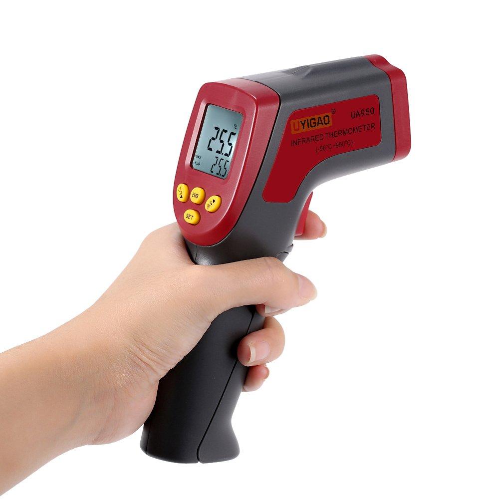-50~950C Digital Infrared IR Thermometer 12:1 Handheld Temperature Tester Pyrometer With Backlight Adjustable Emissivity