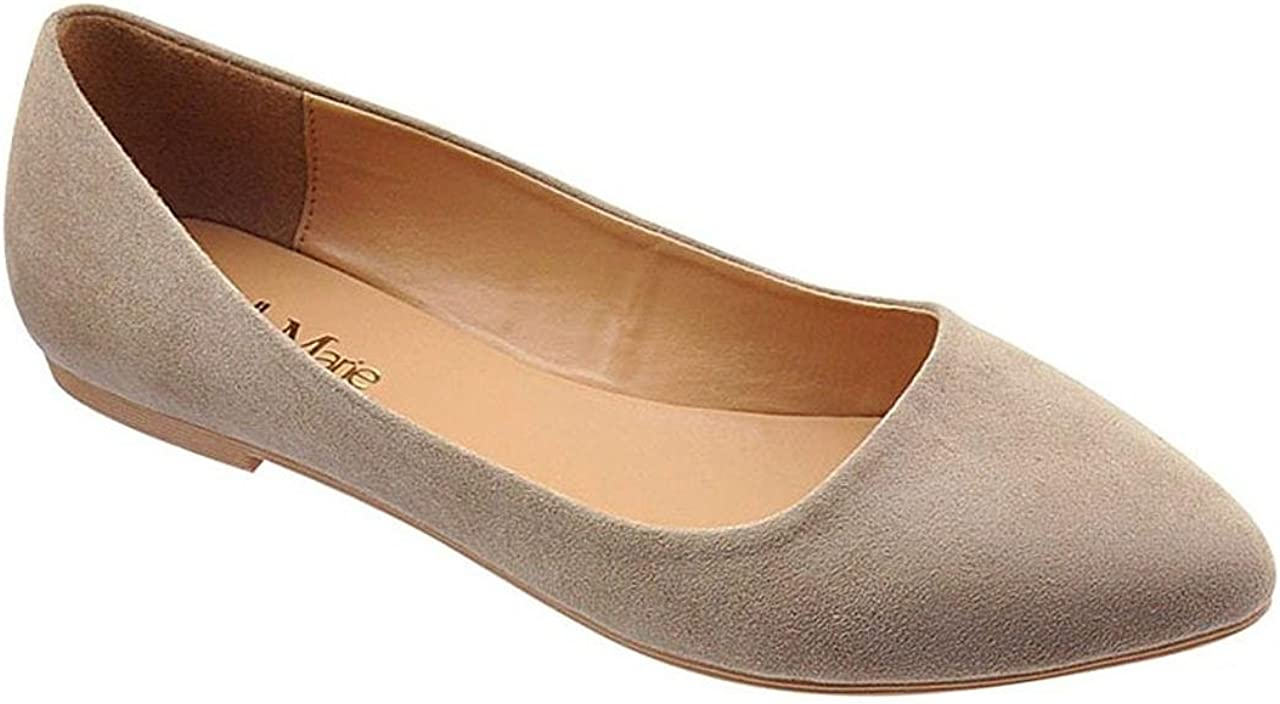 Bella Marie BellaMarie Angie-28 Women's Classic Pointy Toe Ballet Flat Shoes ( B(M) US, Taupe) (8.5)
