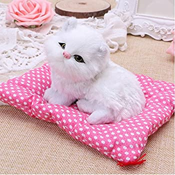 Toonol Lovely Simulation Animal Doll Plush Sleeping Cats With Sound Perfect Birthday Gift Decorations Toy Color White
