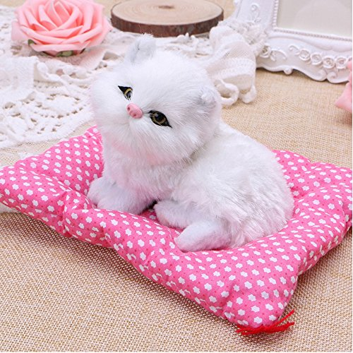 Toonol Lovely Simulation Animal Doll Plush Sleeping Cats with Sound Perfect Birthday Gift Doll Decorations Toy, Color White
