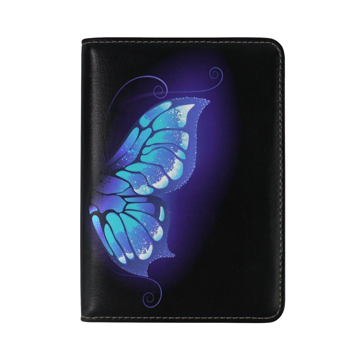 ALAZA Purple Butterfly Black Leather Passport Holder Cover Case Travel One Pocket