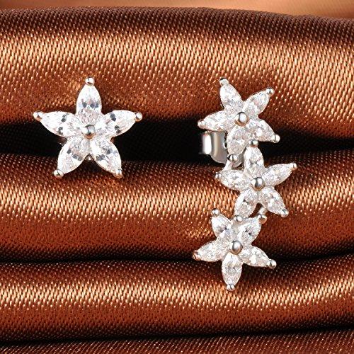 6941952e75a5 Outlet Infinito U 925 plata esterlina Zirconia cúbico de la niña flores  oreja Crawler barrido Stud