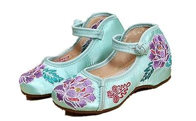 Tianrui Crown Girls Phoenix Embroidery Ballet Shoes Kids Cute Mary-Jane Dance Shoe Flat Sandal Shoe