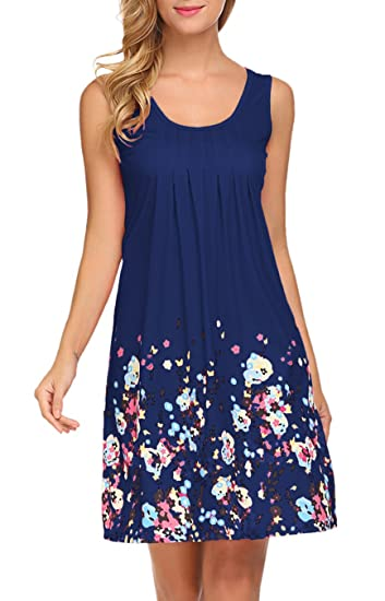 1162365a69d7 LuckyMore Women Bohemian Vintage Tunic Dress Printed Summer Shift Dress  Navy Blue