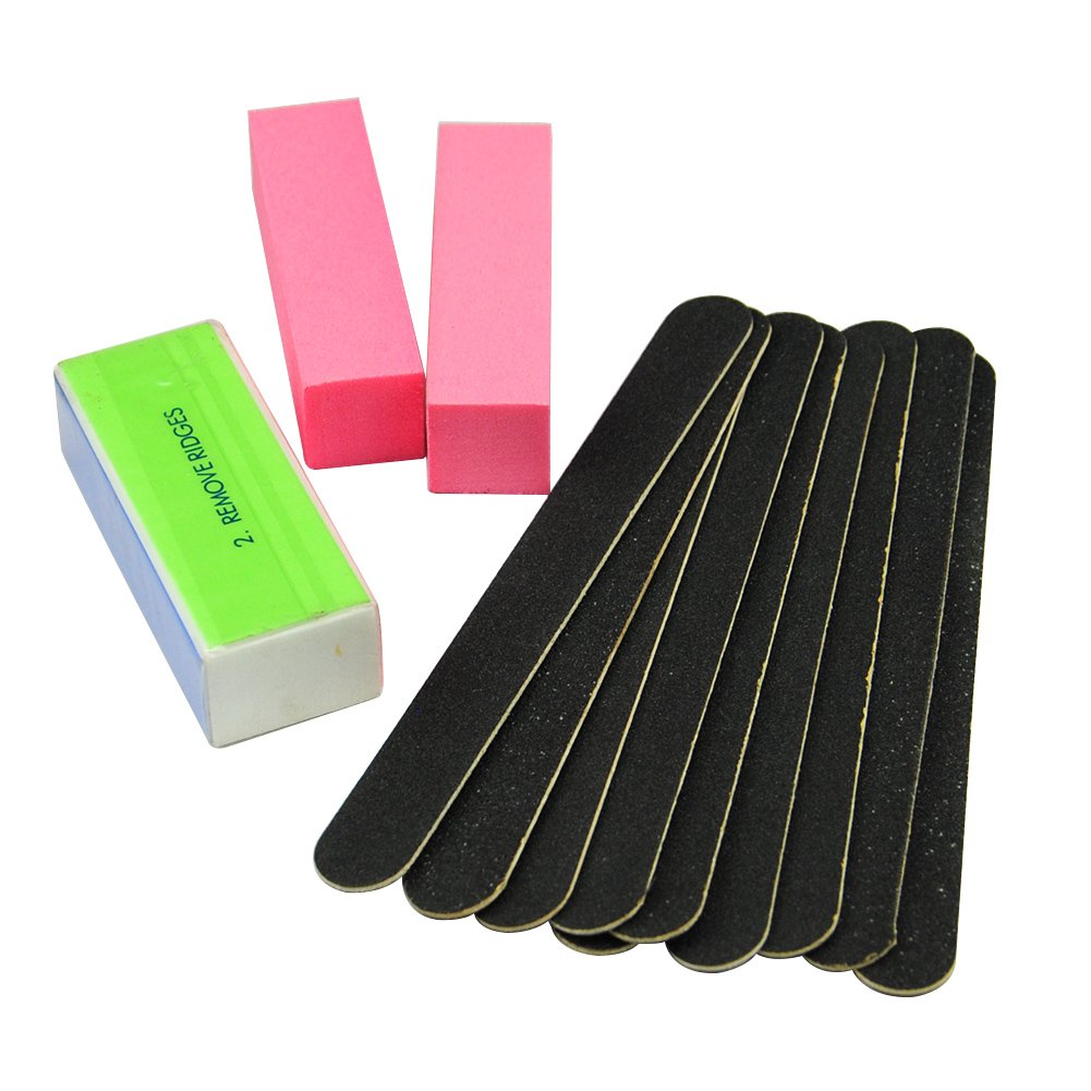 Coscelia 10PCS Nail Black Sanding Files Manicure UV Gel Polish Buffer Block Nail Art Tips 2pcs Pink Buffer Acrylic Manicure Tools Kit