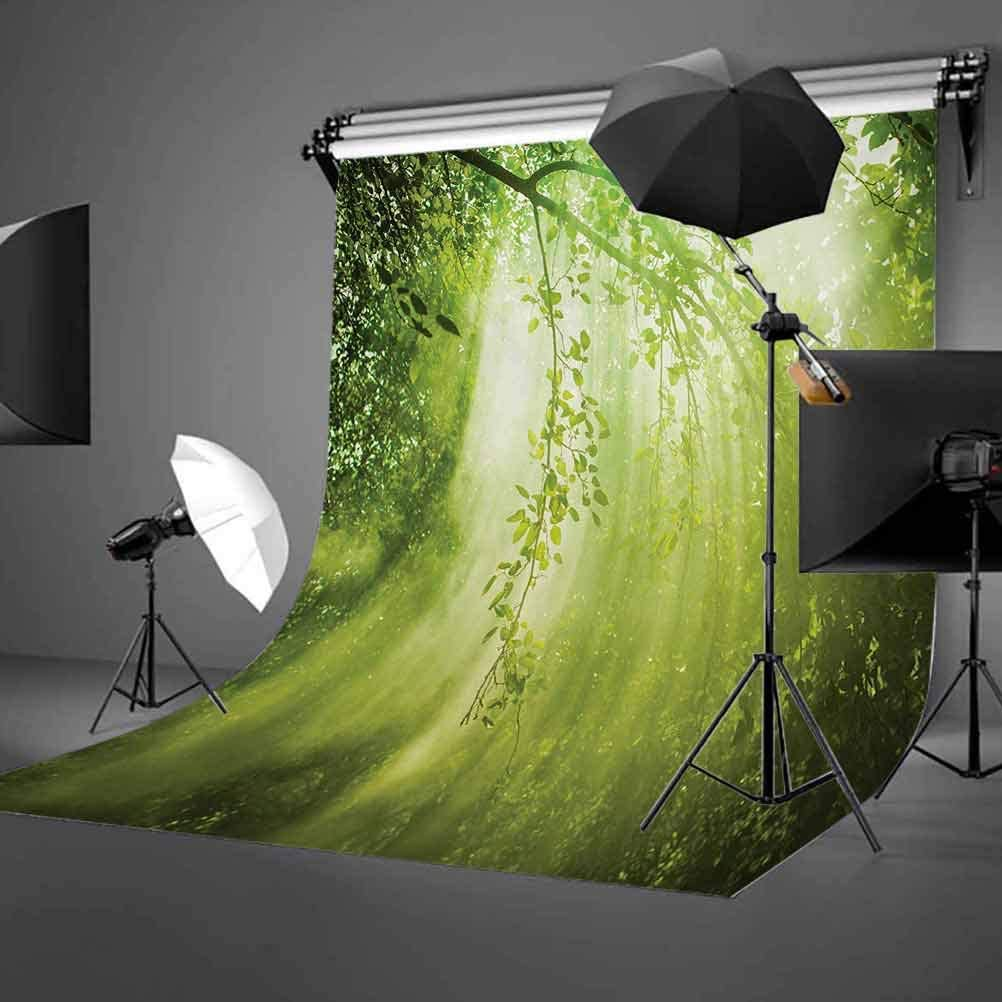 Forest 10x12 FT Backdrop Photographers,Rays of Sun Deep Dark in The Forest in Foliage with Dynamic Effects Scenic Image Print Background for Baby Birthday Party Wedding Vinyl Studio Props Photography