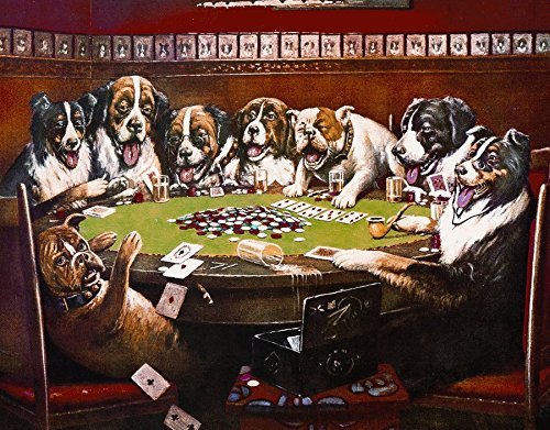 8 Dogs Playing Cards Classic Old Fashioned Vintage Advertising Metal Tin Sign 8x10 Made In The USA By Mostly Art Struff