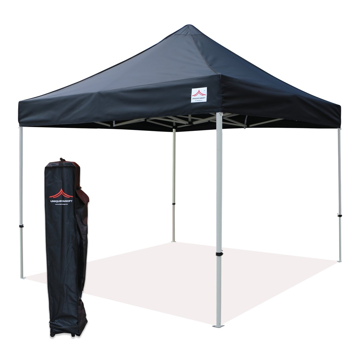 UNIQUECANOPY 10x10 Ez Pop up Canopy Tents for Parties Outdoor Portable Instant Folded Commercial Popup Shelter, with Wheeled Carrying Bag Black