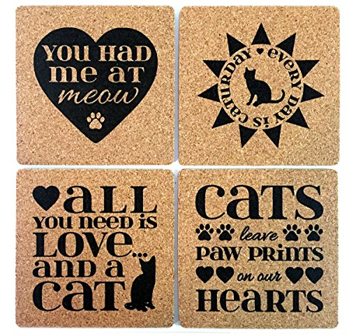 Cat Lover Gift Cork Coaster Set by Yay Delicious - You Had Me At Meow; All You Need Is Love and a Cat; Every Day Is Caturday; Cats Leave Paw ()