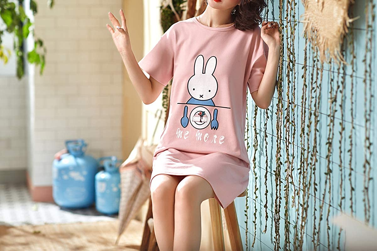 Hupohoi Big Girls Short Sleeve Sleep Dress Cute Bunny Cake Nightgown Cotton Pajamas Pink