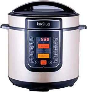 Kaqiluo 6QT Digital Pressure Cooker 10 in 1 Pot with LCD Display, Bonus Tempered Glass Lid, Bake, Noodles, Slow, Cake, Noodles, Soup, Rice, Yogurt, Maker