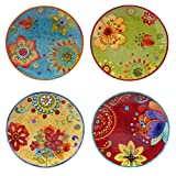 Certified International 22451SET/4 Tunisian Sunset Salad/Dessert Plates (Set of 4), 8.75'', Multicolor