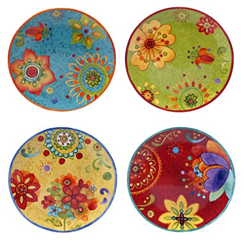 (Certified International 22451SET/4 Tunisian Sunset Salad/Dessert Plates (Set of 4), 8.75