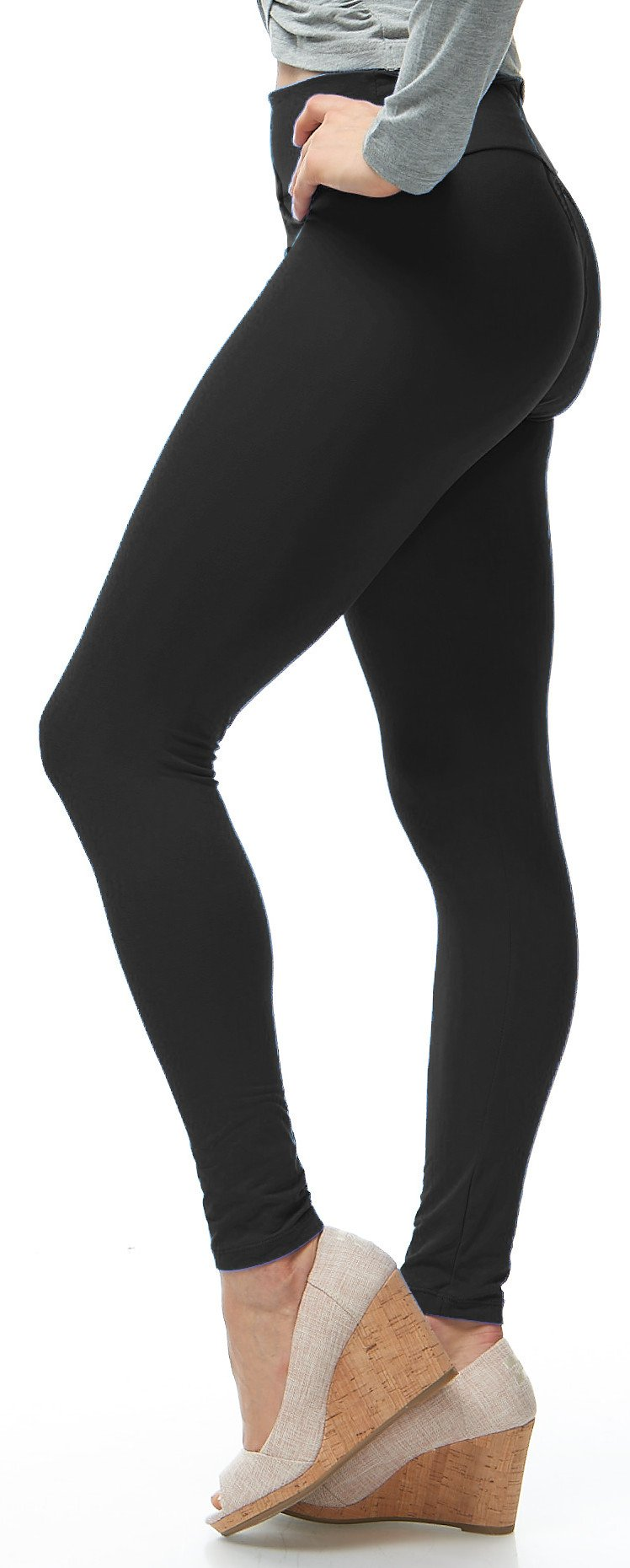 LMB Yoga Leggings Buttery Soft Material - Variety of Colors - Black by LMB (Image #2)