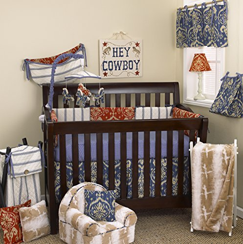 Cotton Tale Designs 100% Cotton Blue Red Tan Cream Ikat and Stripes 10 Piece Baby Nursery Crib Bedding Set, Sidekick