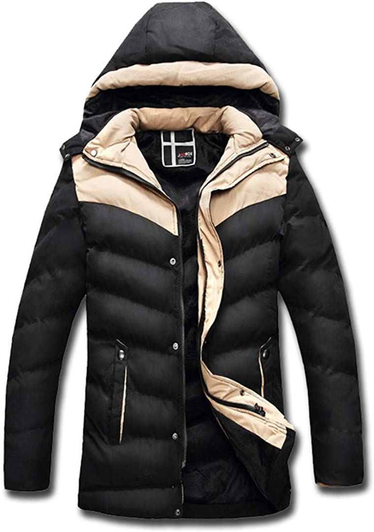 FEN/&Fanxut Men Warm Jacket Coats Snow Winter Thick Hooded Slim Fit Down Wadded Parka Design Casual Cotton Outwear