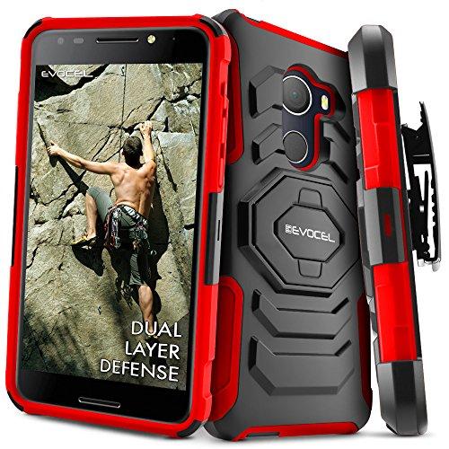 T-Mobile REVVL Case, Evocel [New Generation] Rugged Holster Dual Layer Case [Kickstand][Belt Swivel Clip] For Alcatel Walters / T-Mobile REVVL (5049W), Red (EVO-ALWALTERS-XX03)