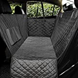 Honest Luxury Quilted Dog Car Seat Covers with Side Flap Pet Backseat Cover for Cars, Trucks, and Suv's - Waterproof & Nonslip Diamond Pattern Dog Seat Cover(Door Protector)