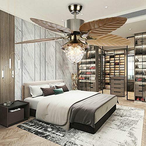 52 Inch Tropical Palm Leaf Ceiling Fan Chandelier Bedroom Living Room 5 Leaf Decorative Light Ceiling Lamp