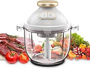 Electric Food Chopper,A-KISSEE 2.3L Food Processor 300W Meat Grinder with 8-Cup Glass Bowl for Meat,Vegetables,Fruits and Nuts,Fast & Slow 2 Speeds,4 Sharp Blades,BPA-Free (white)