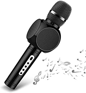 Wireless Karaoke Microphone,Ksera Portable Handheld Karaoke System 4-in-1 Bluetooth Mic with Speaker for Children Home Party Song Record KTV and Speech, Compatible with Android iPhone iPad PC (Black)