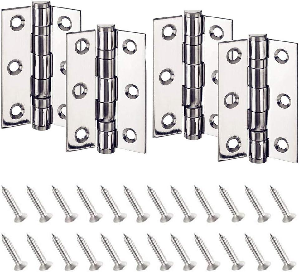 Bisagra Acero Inoxidable Bisagra 4 Piezas de Bisagras Plegables de 75 mm con Tornillos de Acero Inoxidable de 24 Piezas